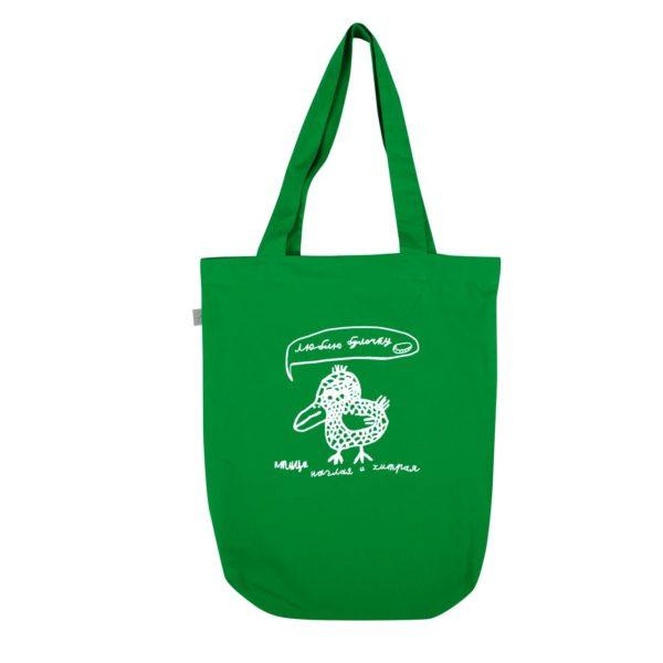 сумка экохлопок Птица наглая и хитрая