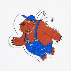виниловый магнит Медведь Тэд Летающие звери