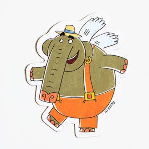 виниловый магнит Слон Прабу Летающие звери