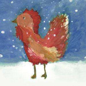 открытка новогодняя Петушок на снегу