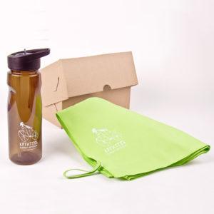 подарочный набор Велосипедист  спортивное полотенце и бутылочка для воды