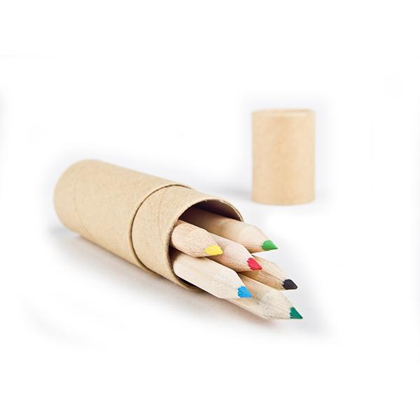 набор цветных мини-карандашей в  тубусе