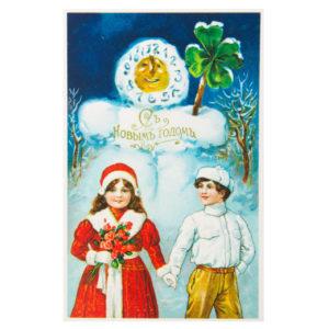 Открытка репринтная Часы-снеговик