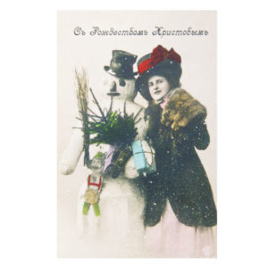 Открытка репринтная Снеговик и Дама. Съ Рождествомъ