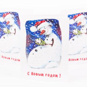 Открытка Снеговик с голубем