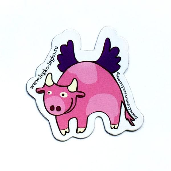 Магнит «Летающая корова розовая»