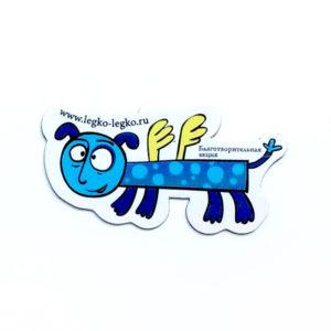 Магнит «Летающая собака синяя длинная»