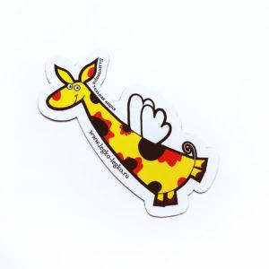 Магнит «Летающий жираф желто-черный»